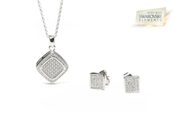 Conjunto de Swarovski Square Silver