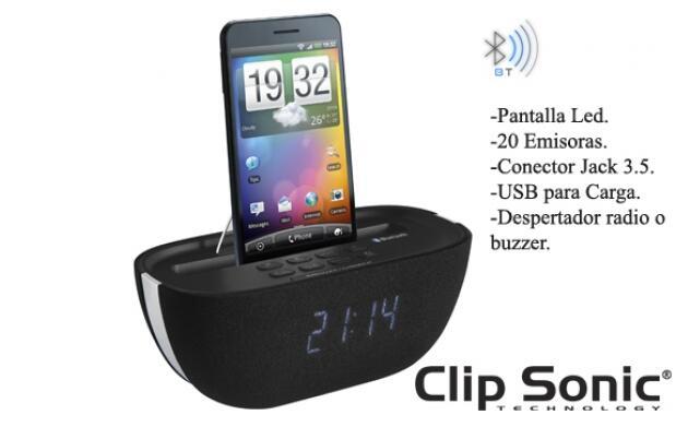Radio despertador Bluetooth y Cargador
