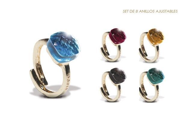 Set de 8 anillos ajustables de Poète